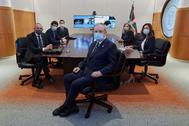 La delegación vasca en la Comisión Mixta antes de iniciar la reunión vía telemática.