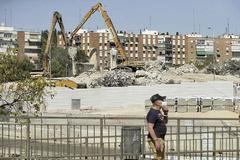 Trabajos de derribo del estadio Vicente Calderón