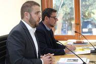 Adrián Ballester (PP) y Javier Gutiérrez (Cs), en su comparecencia.