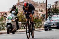 Geraint Thomas, durante la primera etapa del Giro.