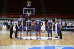 Los jugadores del Gran Canaria, durante su partido entre semana en Grecia.