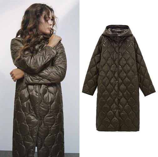 Abrigo acolchado en color chocolate de Zara.