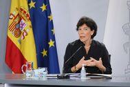 Isabel Celaá, tras el Consejo de Ministros.