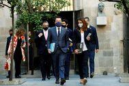 El Govern, con Aragonès y Budó al frente, acude a su reunión semanal.