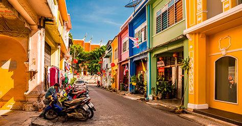 Calle de Phuket Town, donde se va a probar esta experiencia piloto.