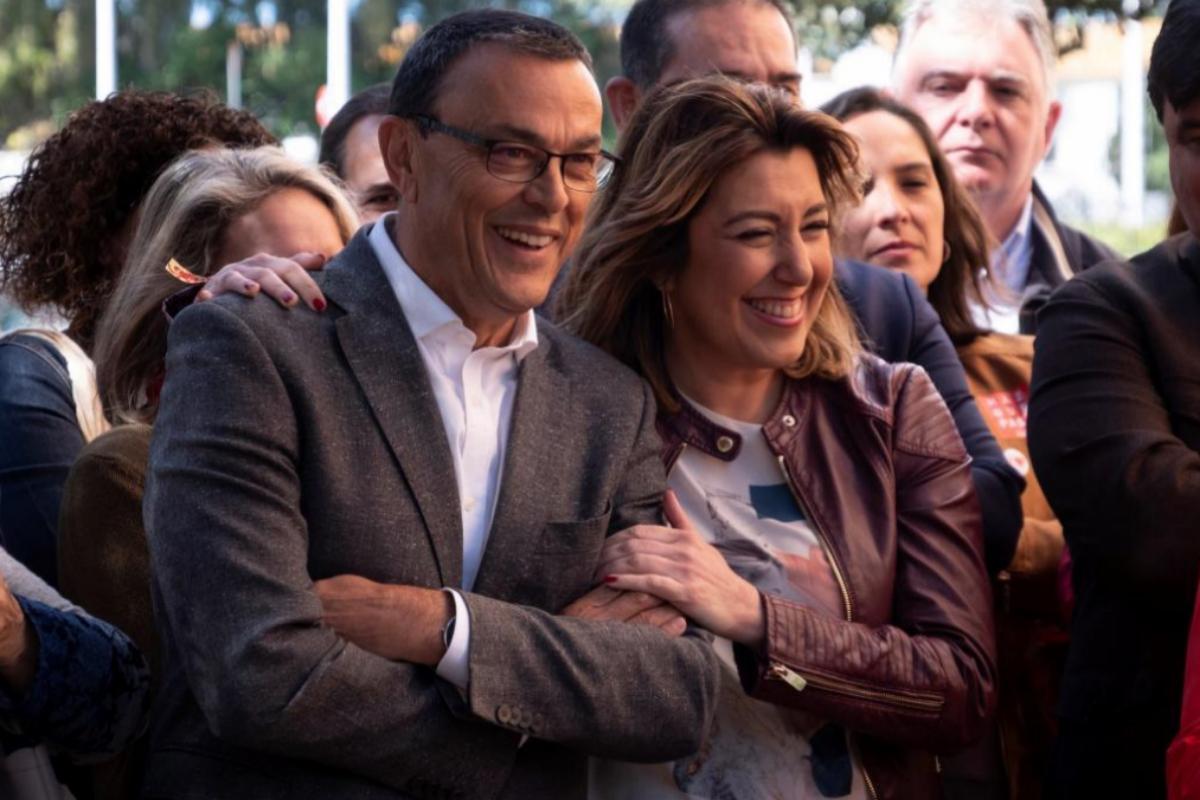 Ignacio Caraballo y Susana Díaz, durante un acto electora del PSOE en abrir de 2019.