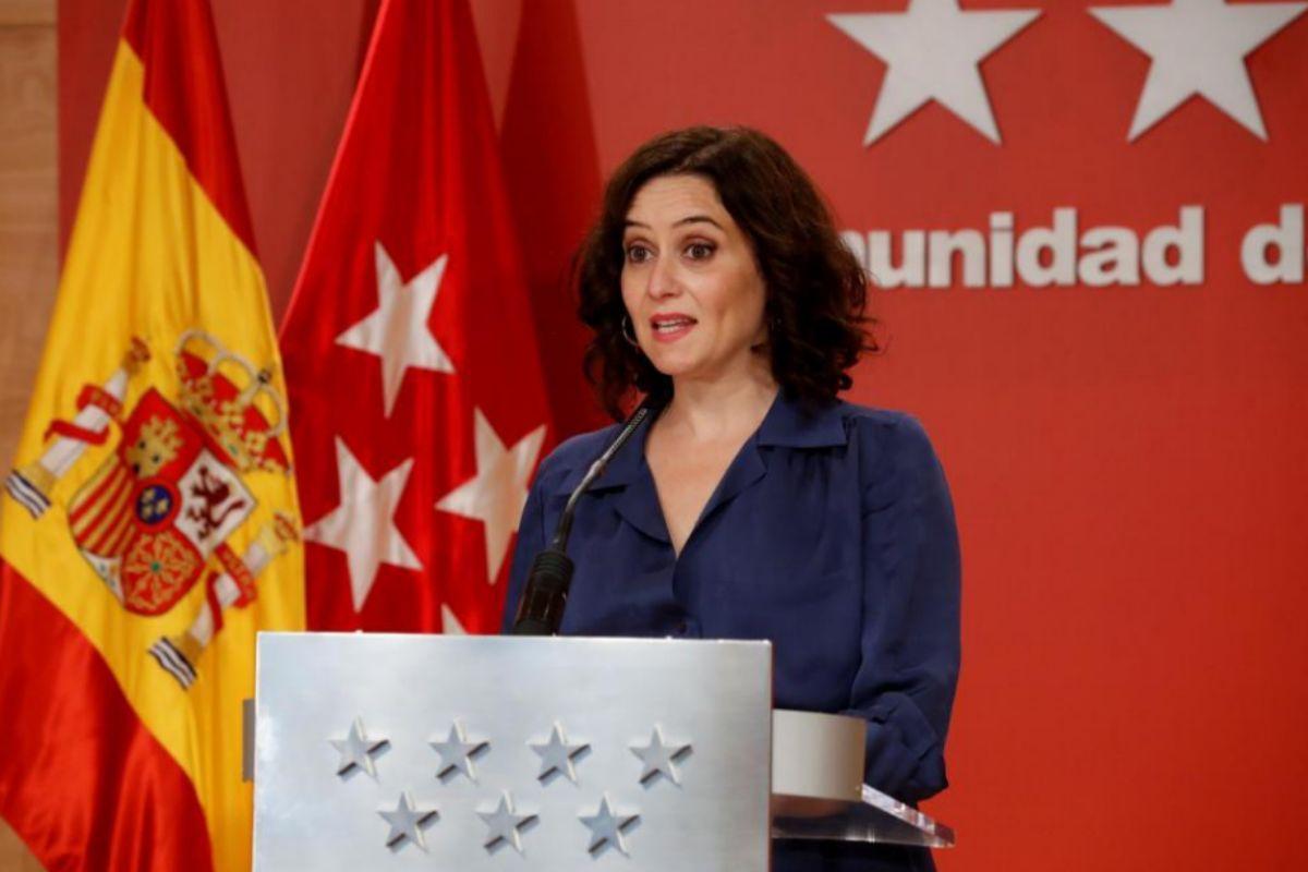 Isabel Díaz Ayuso, el jueves, en rueda de prensa en la sede del Gobierno regional.