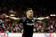 Munir celebra un gol con el Sevilla.