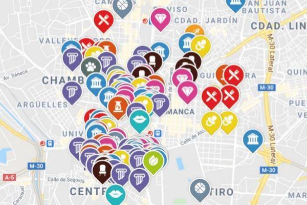 Mapa con los 136 pequeños comercios que se han apuntado ya a la iniciativa 'Más que un local' de Primi Maier y Carlota Heredia