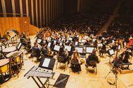 Imagen de archivo de una orquesta valenciana durante un concierto.