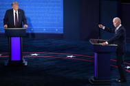 El presidente de EEUU, Donald Trump, y el candidato presidencial demócrata y ex vicepresidente de EEUU, Joe Biden, en el primer debate de cara a las elecciones presidenciales.