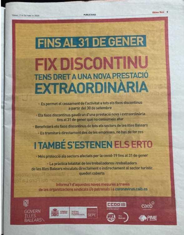 Campaña publicitaria del Govern balear para las ayudas por el coronavirus.