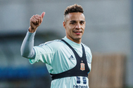 Rodrigo Moreno, durante un entrenamiento esta semana.