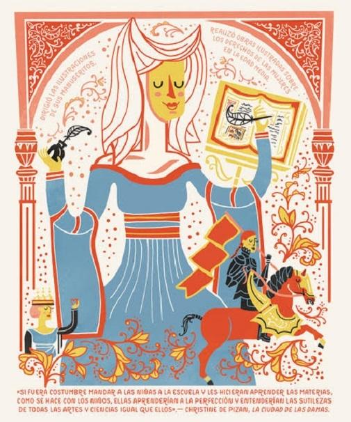 Christine de Pizan.  Ilustración de Rachel Ignotofsky.