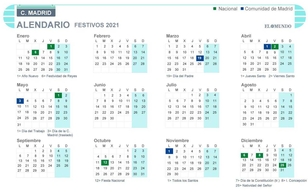 CALENDARIO LABORAL COMUNIDAD DE MADRID 2021