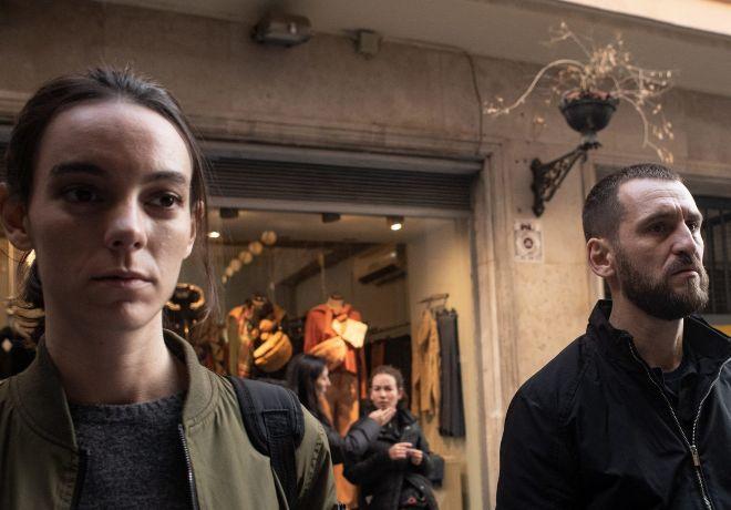 Laia (Vicky Luengo), junto a Diego (Raúl Arévalo), en un momento del rodaje.