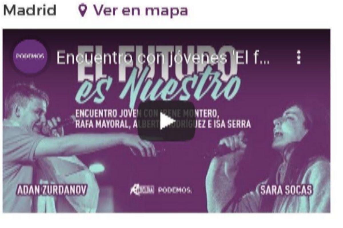 Sara Socas, en un acto de Podemos.
