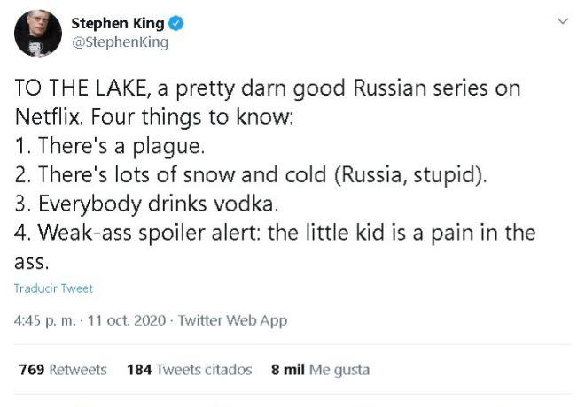 El primer tweet que Stephen King dedicó a 'Hacia el lago' el 11 de octubre.