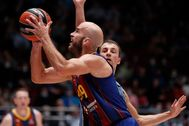 St. Petersburg (Russian Federation).- Kevin Pangos (R) of BC Zenit in action against Nick Calathes (L) of FC lt;HIT gt;Barcelona lt;/HIT gt; during the Euroleague basketball match between BC Zenit St. Petersburg and FC lt;HIT gt;Barcelona lt;/HIT gt; in St. Petersburg, Russia, 09 October 2020. ( lt;HIT gt;Baloncesto lt;/HIT gt;, Euroliga, Rusia, San Petersburgo) EPA/