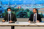 Teodoro García Egea y Pablo Casado, en el Comité de Dirección del PP.