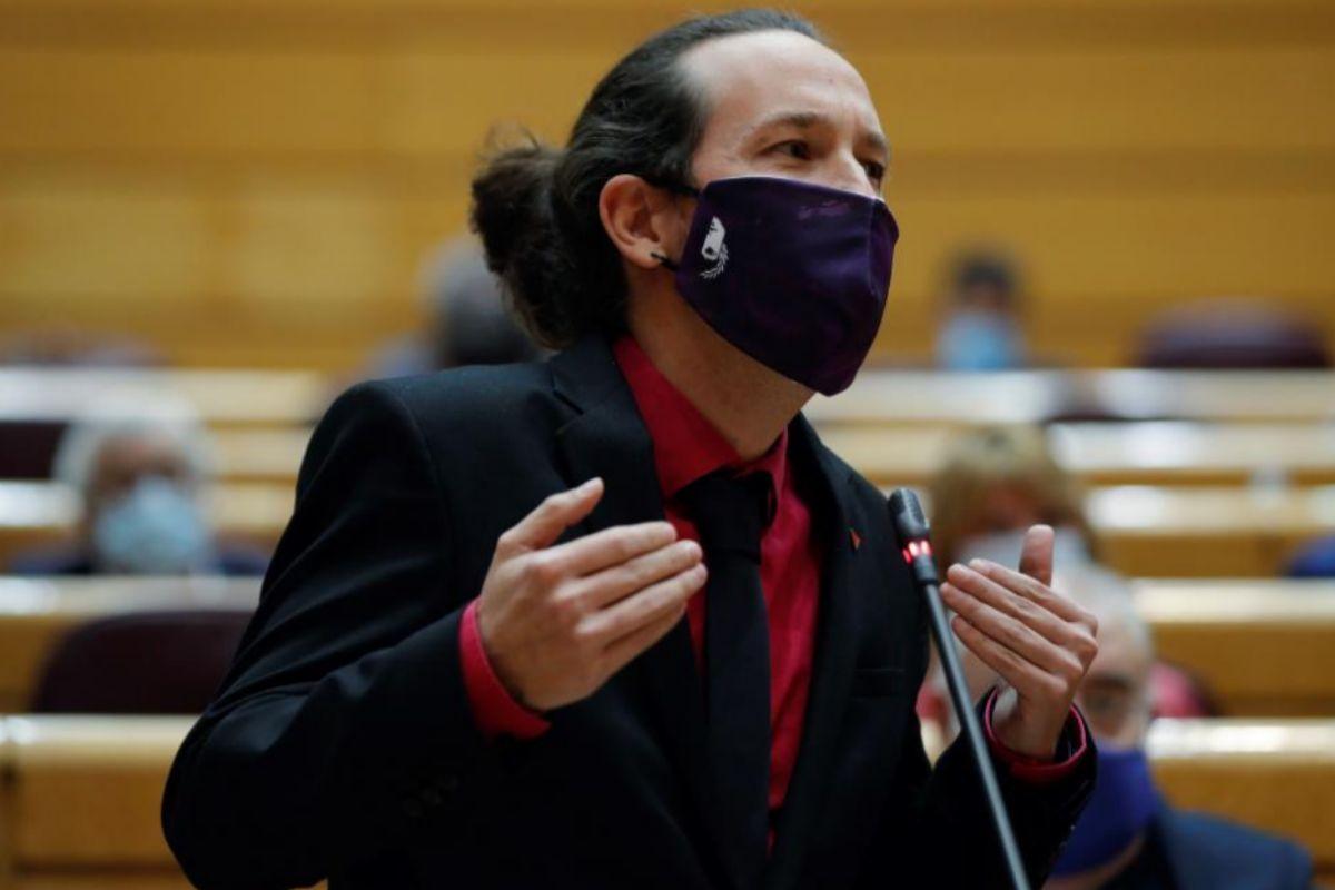 Pablo Iglesias, durante la sesión de control en el Senado.
