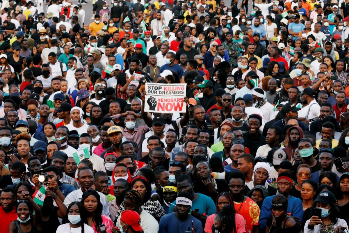 Manifestación de #EndSARS en Lagos.