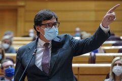 MADRID.- El ministro de Sanidad Salvador lt;HIT gt;Illa lt;/HIT gt;, durante la sesión de control al Gobierno, este martes en el Pleno del Senado, en Madrid.-
