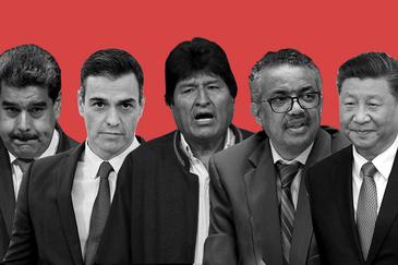 De izqda. a dcha., Nicolás Maduro, Pedro Sánchez, Evo Morales, Tedros Adhanom y Xi Jinping.