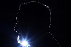 La silueta de Santiago Abascal, este miércoles, en el Congreso.