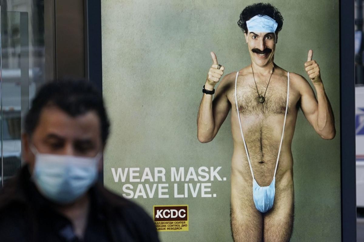 Cartel publicitario de la segunda entrega de 'Borat', en Nueva York.