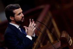 El líder del PP, Pablo Casado, durante su intervención en la moción de censura.