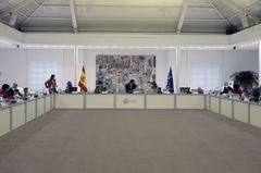El presidente del gobierno, Pedro Sánchez, preside una reunión del  Consejo de Ministros en Moncloa.
