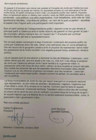 La carta de Puigdemont a los alcaldes del PDeCAT.