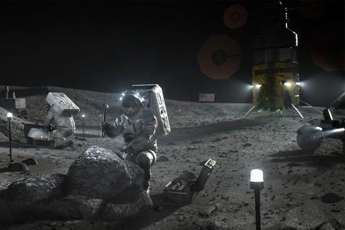 Recreación de astronautas de la NASA en la Luna
