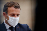 Paris (France).- French President Emmanuel lt;HIT gt;Macron lt;/HIT gt; listens to Estonian Prime Minister Juri Ratas (not pictured), following their meeting at the Elysee Palace in Paris, France, 28 October 2020. (Francia) EPA/
