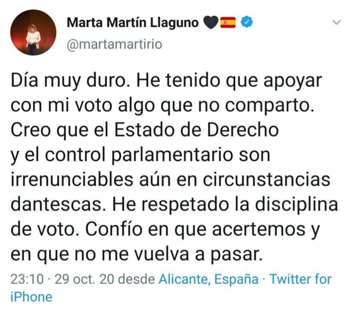 Detalle del 'tuit' borrado por la diputada de Cs Marta Martín en Twitter.