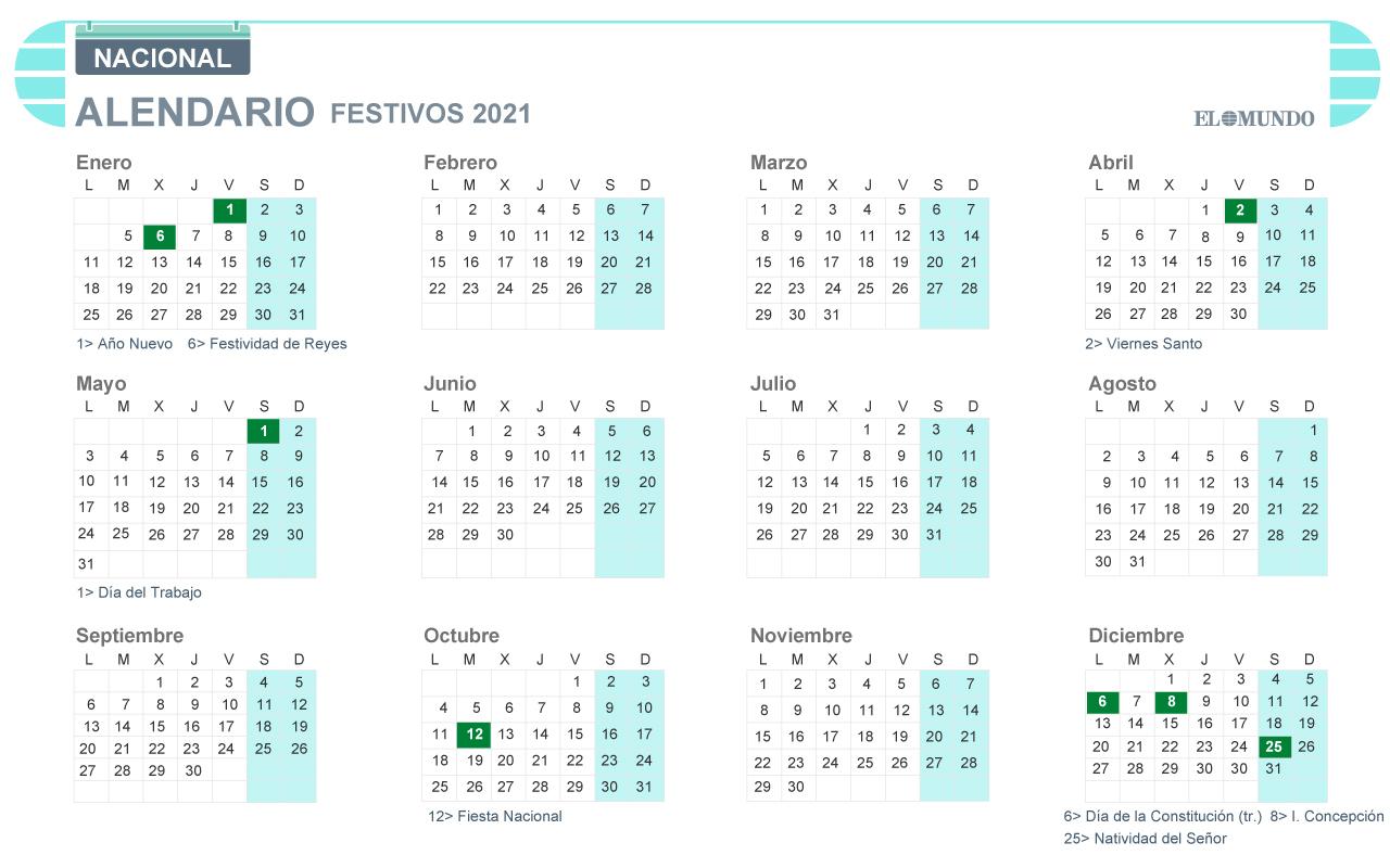 Calendario laboral 2021: Días festivos y puentes