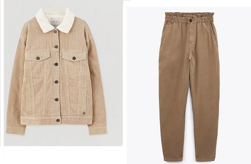 Chaqueta de Pull and Bear y pantalón Paper Bag de pana de Zara,