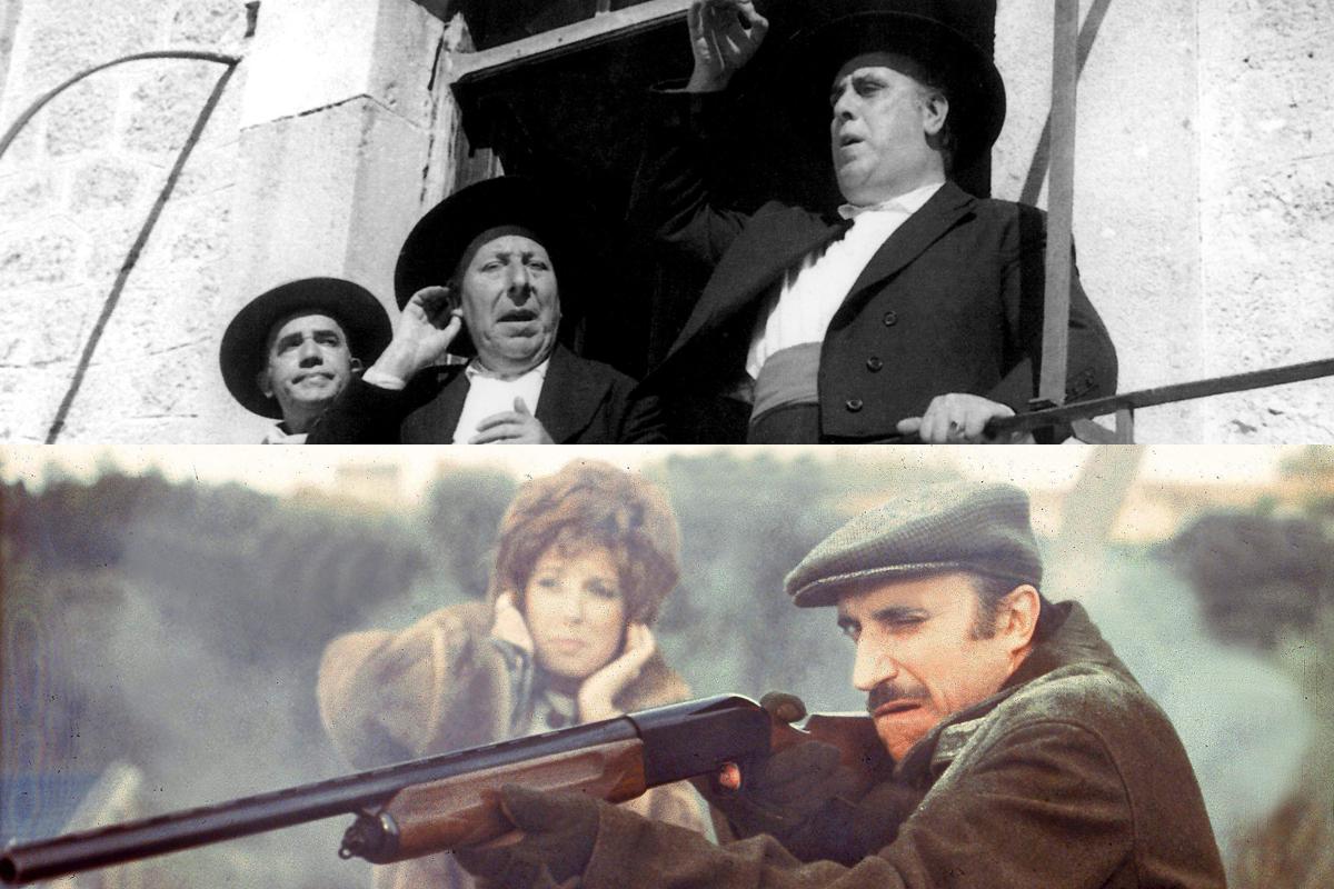 Arriba, Pepe Isbert y Manolo Morán en Bienvenido Mister Marshall. Abajo, Saza en La escopeta nacional.