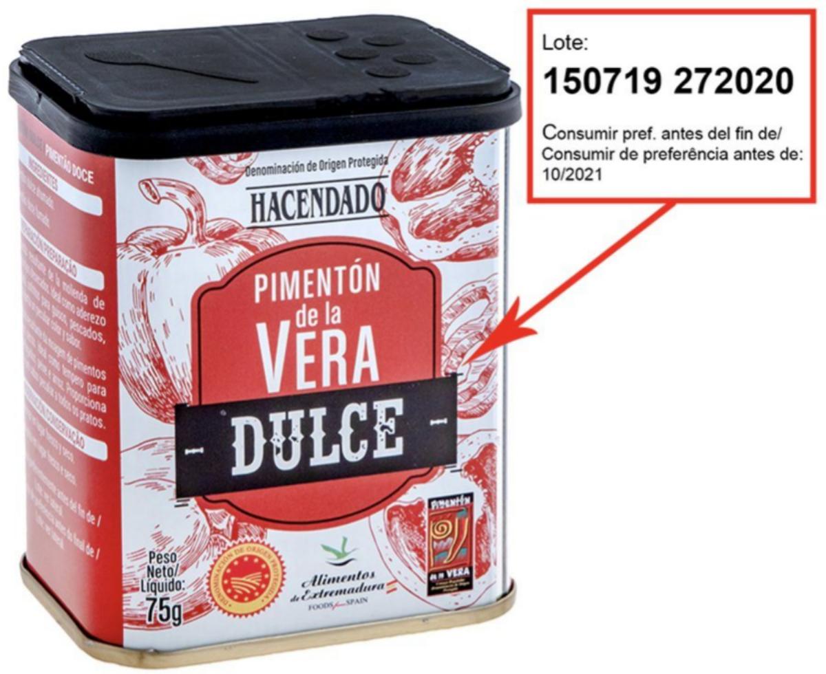 Lote de pimentón de la Vera dulce retirado de Mercadona por presencia de Salmonella.