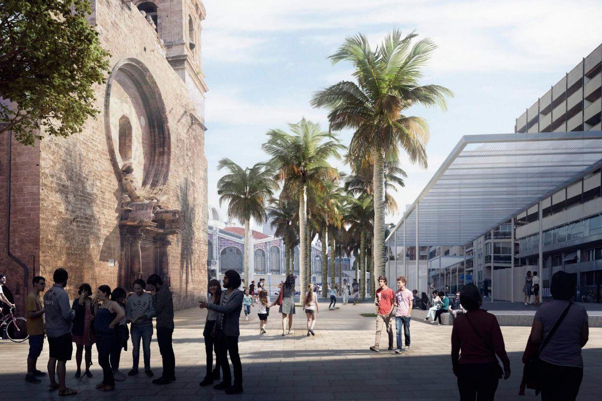 Figuración del proyecto de urbanización de la plaza Ciudad de Brujas.