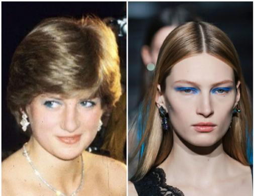 Lady Di, en 1981, ya como prometida del Príncipe Carlos, con los ojos perfilados de azul. A la derecha, una versión contemporánea, en el desfile de otoño de 2020 de Atlein.