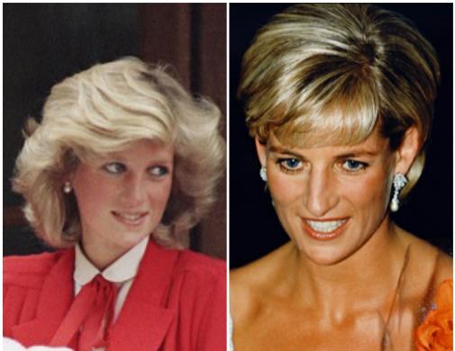 Sin apartarse nunca del pelo corto, Diana pasó de llevar mucho volumen y un acabado esponjoso en los 80 (la foto es de 1984, saliendo de la clínica con el bebé Harry en brazos) a un corte más minimalista y liberador en los 90.