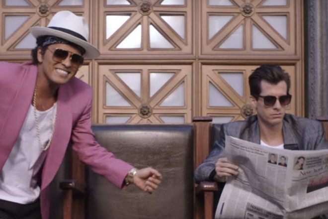 Bruno Mars and Mark Ronson in the video for 'Uptown Funk!'.