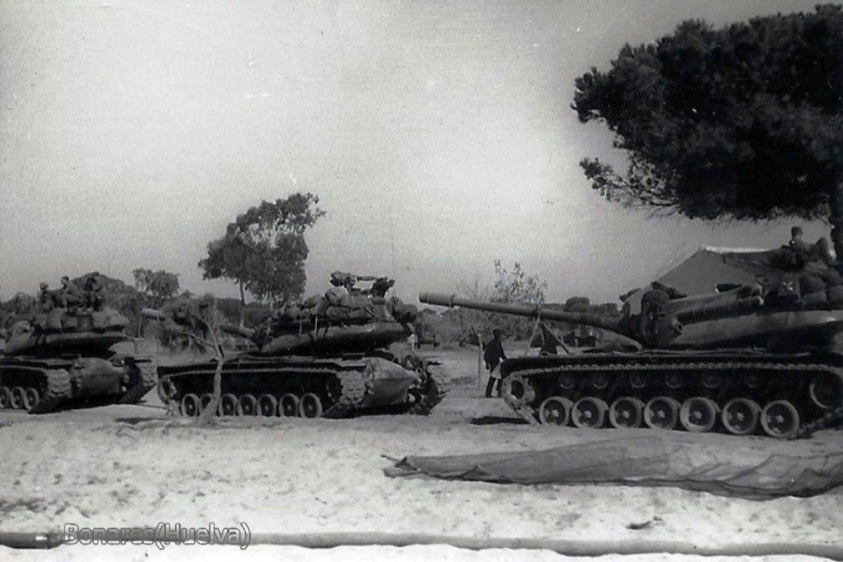 American tanks crossing the pine forests of the Coto de Do