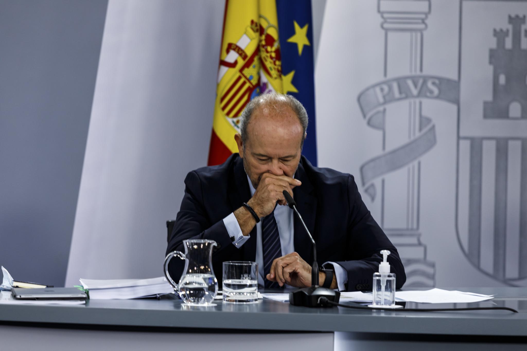 El ministro de Justicia, Juan Carlos Campo, en la rueda de prensa posterior al Consejo de Ministros.