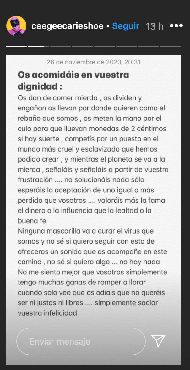 Mensaje de Cecilio en su cuenta de Instagram