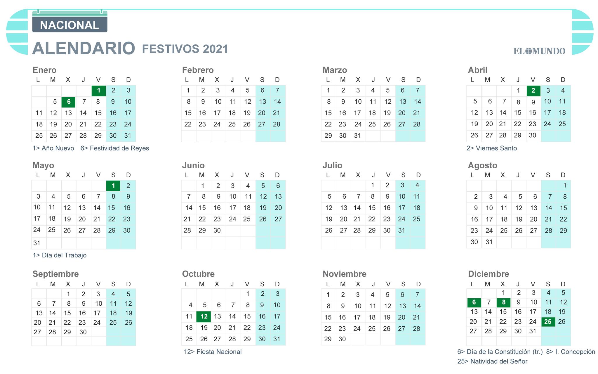 Calendario laboral 2021: festivos y puentes