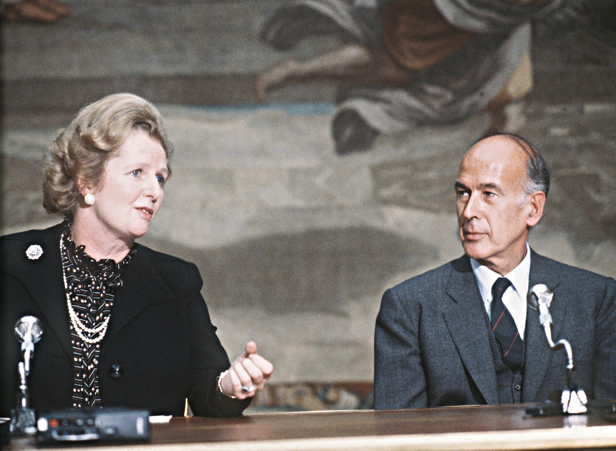 Giscard d'Estaing junto a Margaret Thatcher, en 1980.