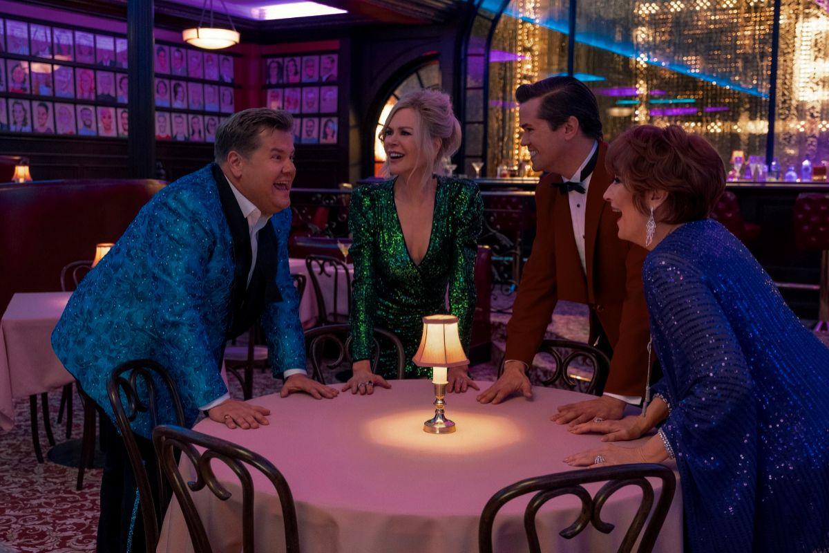 De izquierda a derecha, James Corden, Nicole Kidman, Andrew Rannells y Meryl Streep.